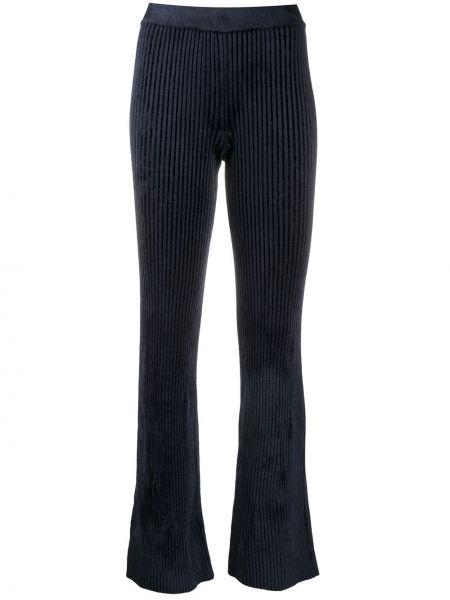 Брючные синие расклешенные свободные брюки из вискозы Mrz