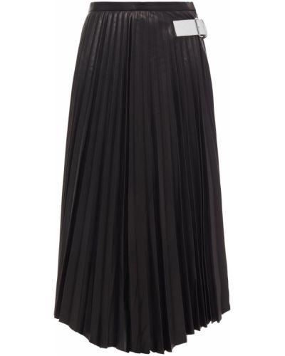 Плиссированная черная кожаная юбка миди Helmut Lang