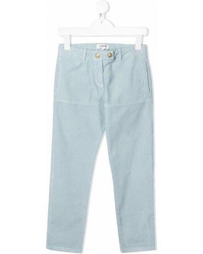 Прямые синие брюки вельветовые на кнопках Lanvin Enfant