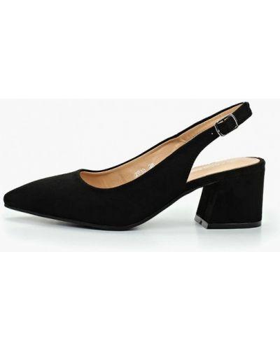 Туфли на каблуке черные с открытой пяткой Coco Perla