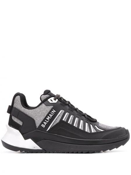 Skórzane sneakersy czarne codziennie Balmain