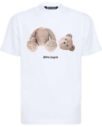 Трикотажная белая футболка с вырезом Palm Angels