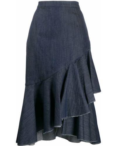Приталенная расклешенная юбка миди на молнии со складками Milla Milla