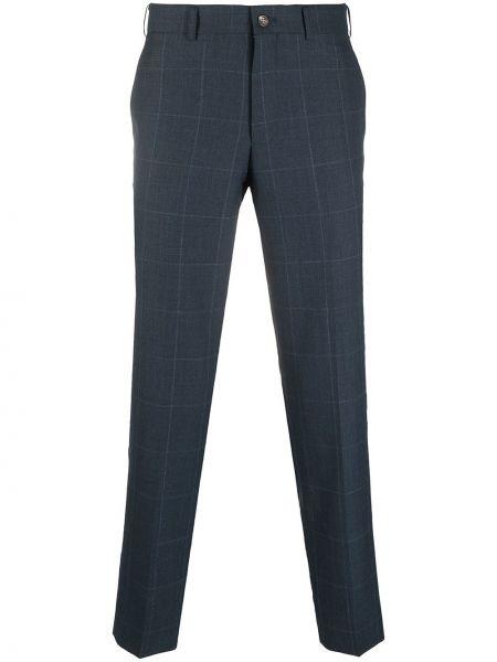 Niebieskie spodnie wełniane z paskiem Comme Des Garcons Homme Deux