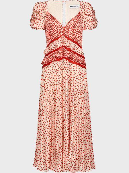 Платье из полиэстера - красное Self-portrait