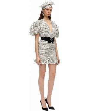 Biała sukienka mini z falbanami z paskiem Marianna Senchina