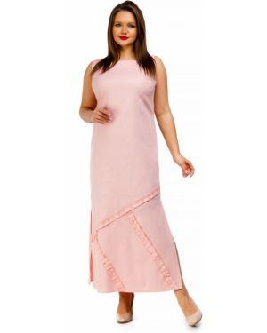 Летнее платье розовое макси Liza Fashion