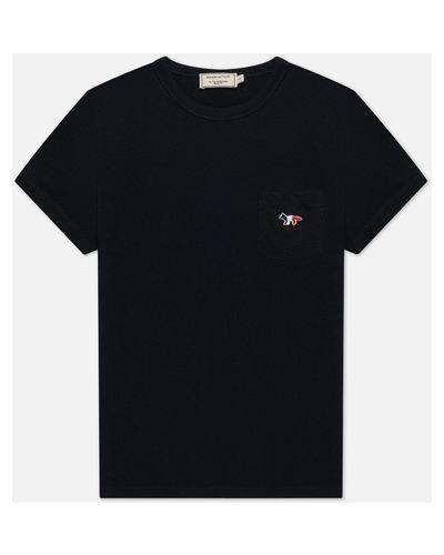 Хлопковая футболка с вышивкой с карманами Maison Kitsuné