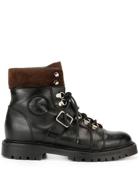 Кожаные черные ботинки милитари на шнуровке Gucci Pre-owned