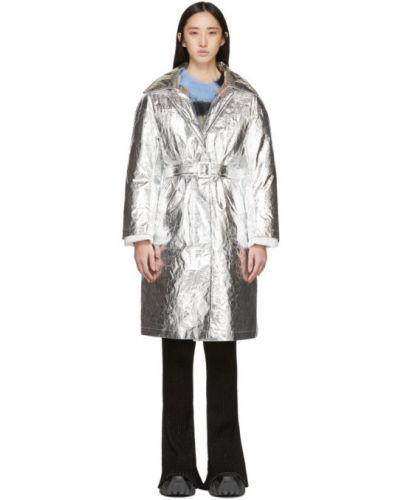 Коралловое шерстяное длинное пальто с поясом с воротником Ienki Ienki