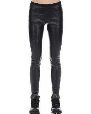 Czarne legginsy skorzane peep toe Rick Owens