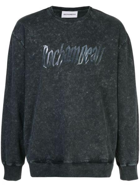 Czarny t-shirt z długimi rękawami bawełniany Rochambeau