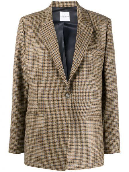 Однобортный коричневый классический пиджак с карманами Roseanna
