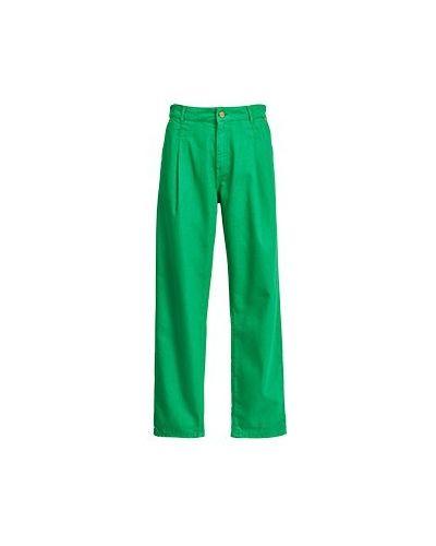 Хлопковые прямые зеленые брюки Essentiel