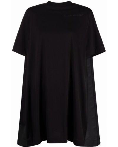 Черное хлопковое платье мини Alexander Mcqueen