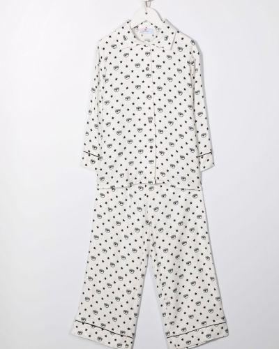 Piżama z wiskozy - biała Chiara Ferragni Kids
