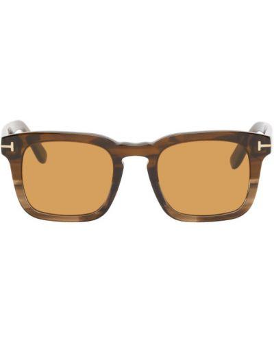 Замшевые желтые солнцезащитные очки квадратные Tom Ford