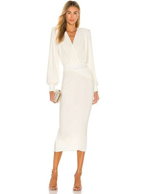 Biała sukienka wieczorowa z falbanami Zhivago
