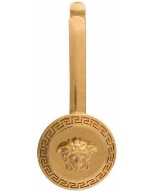 Желтая заколка металлическая Versace