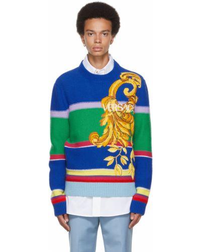 Biały sweter z haftem Versace