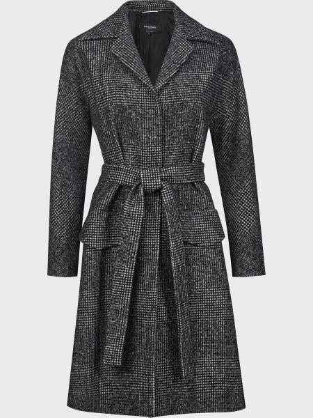 Серое шерстяное пальто с поясом Rochas