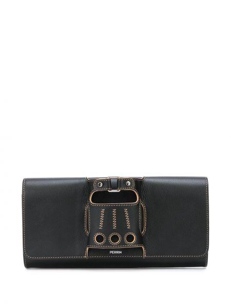 Черная кожаная сумка металлическая с карманами Perrin Paris