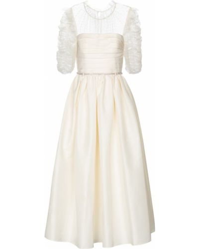 Белое платье миди Self-portrait