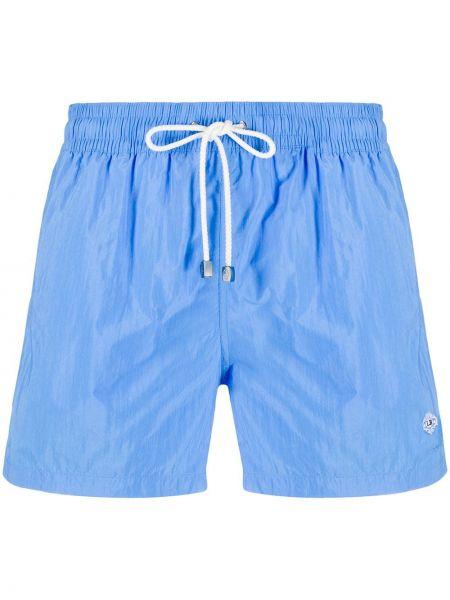 С кулиской хлопковые синие короткие шорты на резинке Borrelli