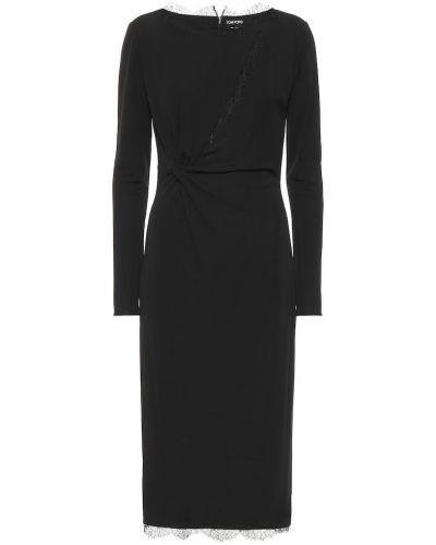 Кружевное черное платье миди из вискозы Tom Ford