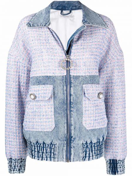 Синяя хлопковая джинсовая куртка Alessandra Rich