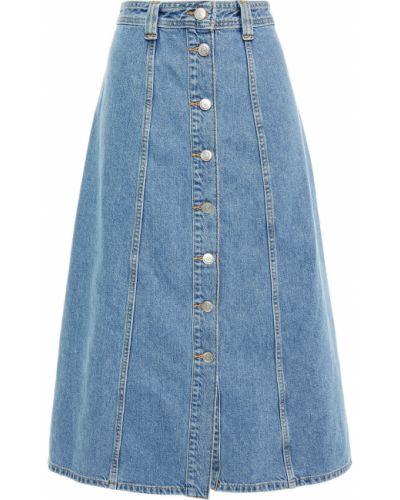 Джинсовая юбка миди - синяя Ganni