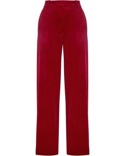 Прямые хлопковые красные со стрелками прямые брюки Hugo Boss