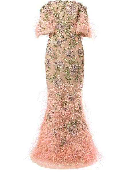 Пышное розовое вечернее платье из фатина с вышивкой Marchesa