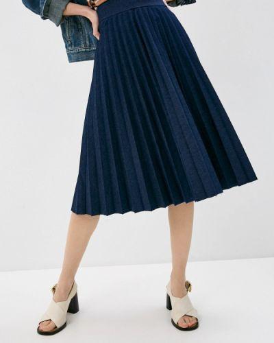 Синяя плиссированная юбка Trussardi