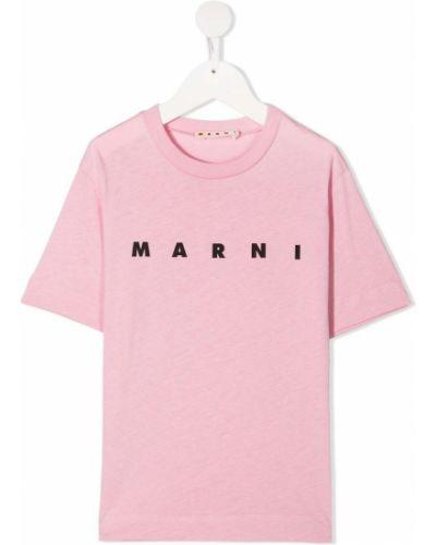 Хлопковая розовая футболка с круглым вырезом круглая Marni Kids