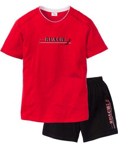Хлопковая красная пижама с шортами с вырезом Bonprix