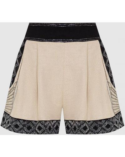 Бежевые шорты с вышивкой Twin-set