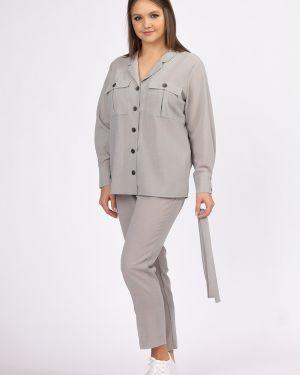 Костюмные летние брюки с карманами с кокеткой с высокой посадкой ангелика