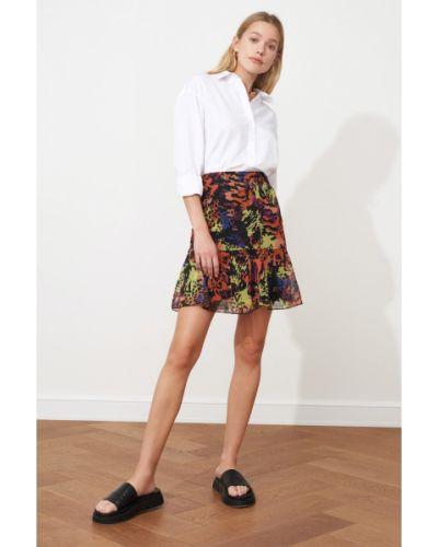 Fioletowa spódnica z szyfonu Trendyol