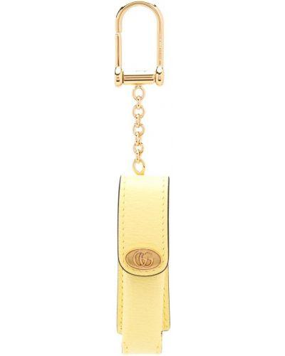 Skórzany żółty etui na klucze Gucci