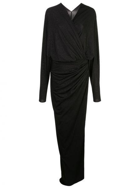 Однобортное приталенное драповое платье макси на молнии Rhea Costa