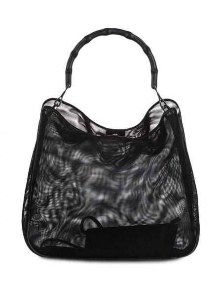 Черная нейлоновая сумка-тоут сетчатая со вставками Gucci Pre-owned