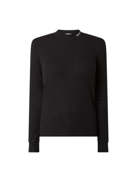 Bawełna bawełna czarny bluzka z długim rękawem wąskie cięcie Calvin Klein Jeans