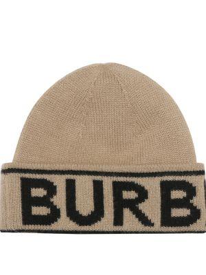 Beżowa z kaszmiru czapka Burberry