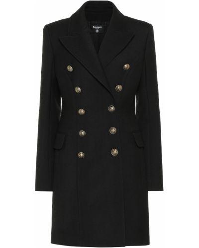 Шерстяное черное пальто милитари Balmain