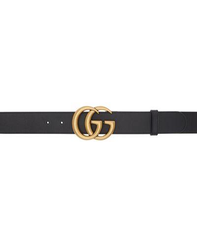 Czarny pasek skórzany z paskiem Gucci