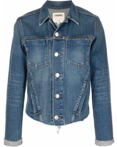 Синяя хлопковая джинсовая куртка на пуговицах L'agence