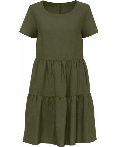Льняное зеленое платье Bonprix