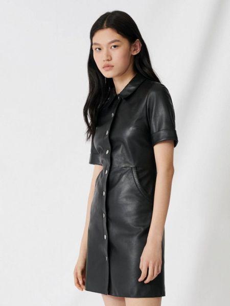 Платье кожаное черное Maje