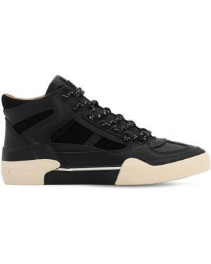 Czarne sneakersy skorzane sznurowane Stratica International